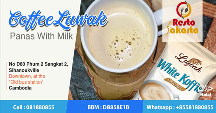 "Civet Coffee Hot With Milk ""Kopi Luwak Panas dengan Susu"""