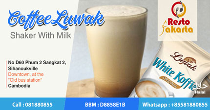 "Civet Coffee Shaker With Milk ""Kopi Luwak Shake dengan Susu"""